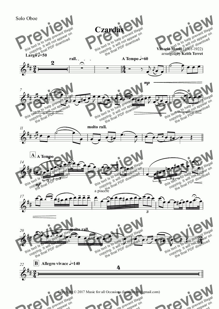 page one of the Solo Oboe part from Czardas for Oboe & Piano