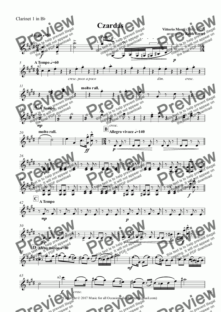 page one of the Clarinet 1 in B^b part from Czardas for Oboe & Piano