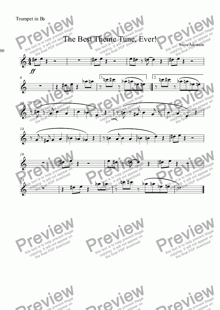 page one of the Trumpet in Bb part from The Best Theme Tune, Ever!