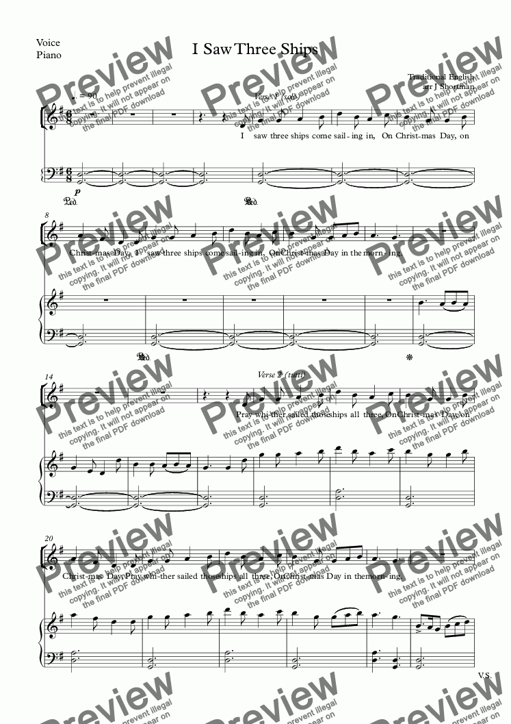 page one of the Voice, Piano part from I Saw Three Ships - Orchestral Arrangement & Descant (Christmas Carol)