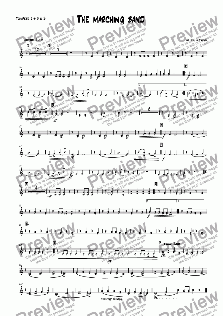 page one of the Trumpet 2/3 Bb part from THE MARCHING BAND
