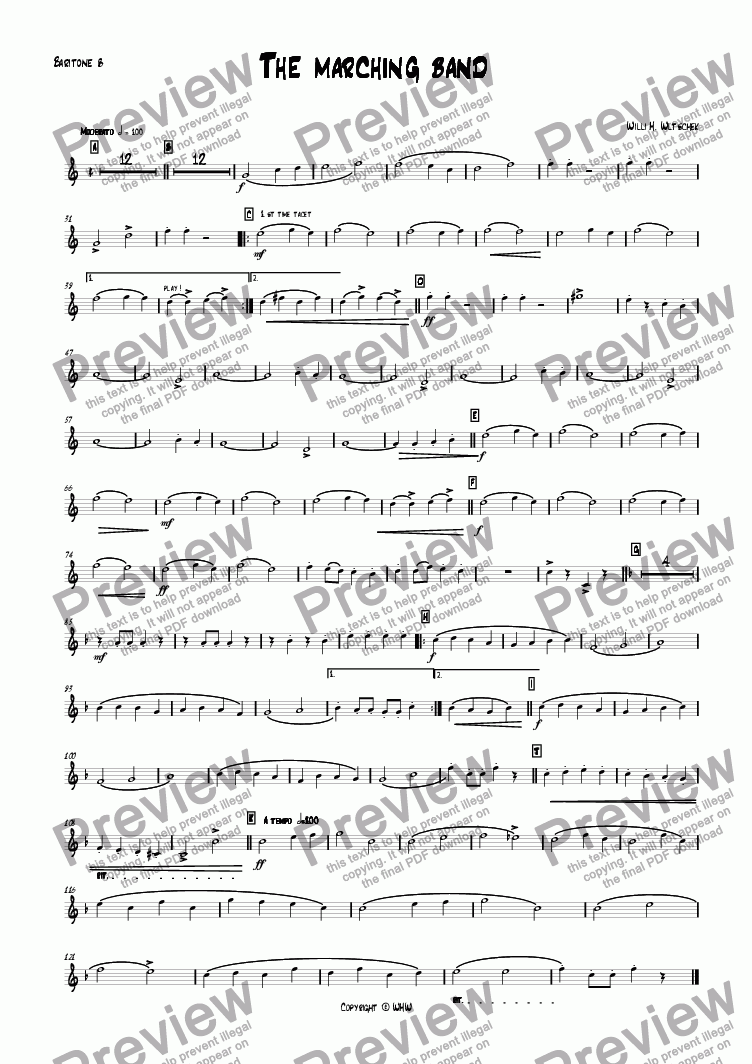 page one of the Baritone Bb part from THE MARCHING BAND