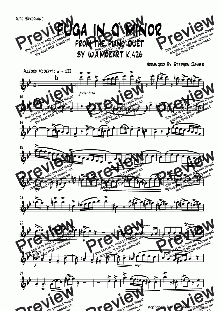 page one of the Alto Saxophone part from Fuga in C Minor by Mozart K426 (Sax Quartet)