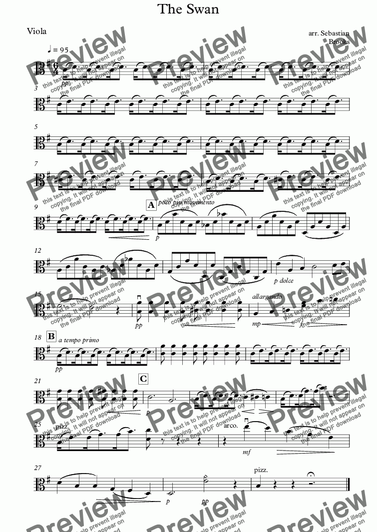 page one of the Viola part from The Swan
