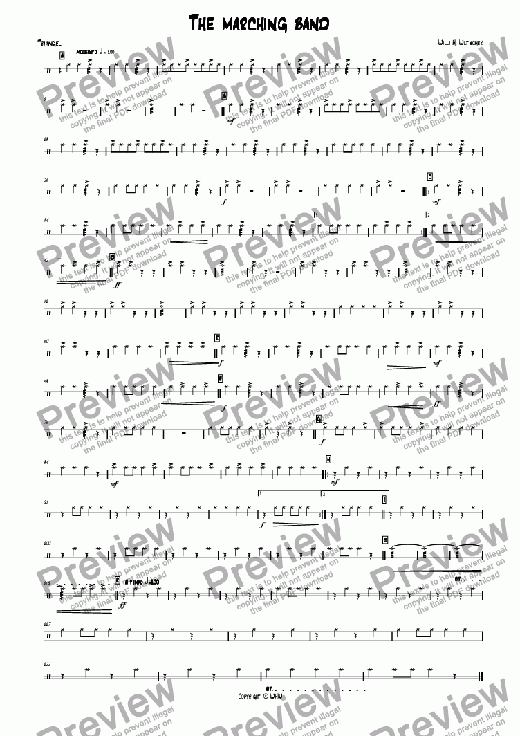 page one of the Triangle part from THE MARCHING BAND