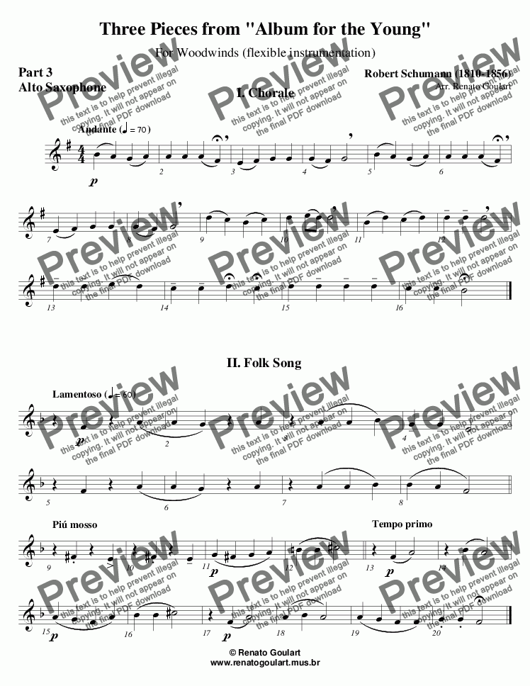 "page one of the 06 Part 3 Alto Saxophone part from Three Pieces from ""Album for the Young"" - Full Score"