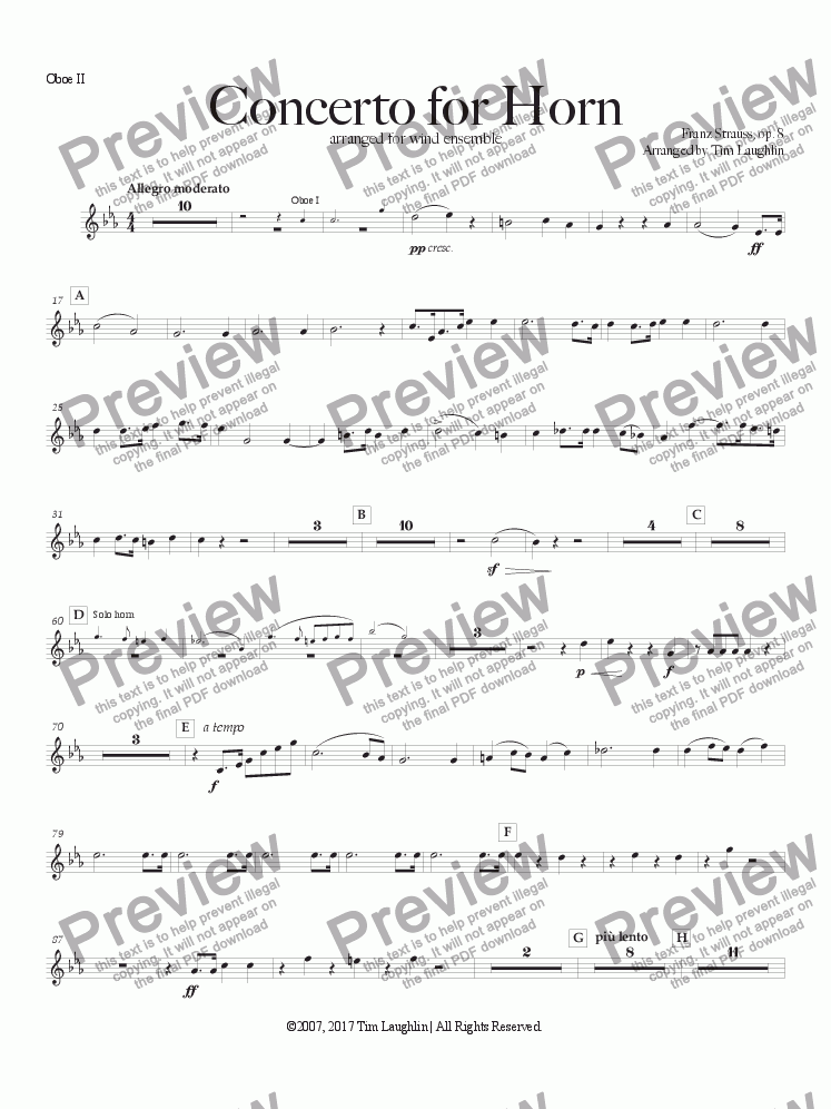 page one of the Oboe II part from Concerto for Horn (Franz Strauss)