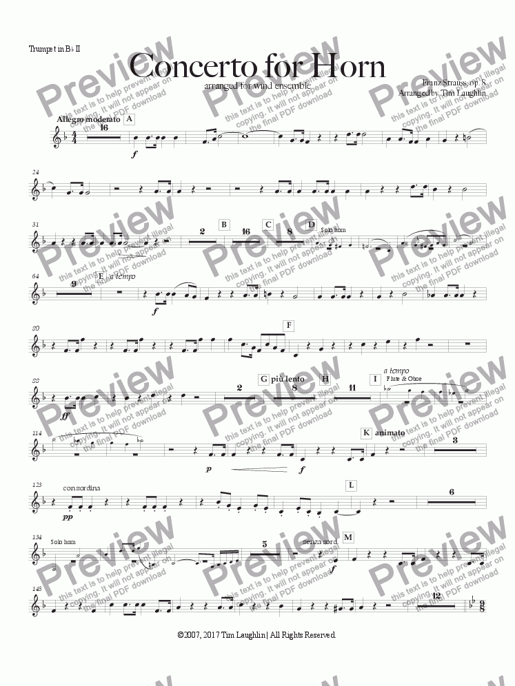 page one of the Bb Trumpet II part from Concerto for Horn (Franz Strauss)