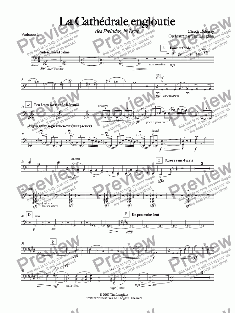 page one of the Violoncello part from The Sunken Cathedral (La Cathédrale engloutie)