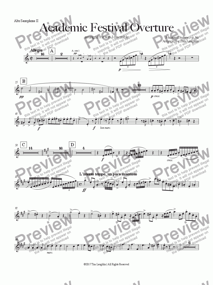page one of the Alto Saxophone II part from Academic Festival Overture (Band)