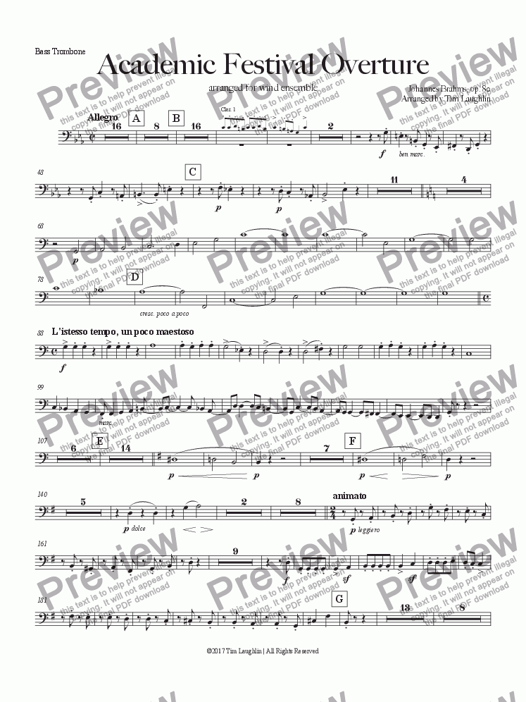page one of the Bass Trombone part from Academic Festival Overture (Band)
