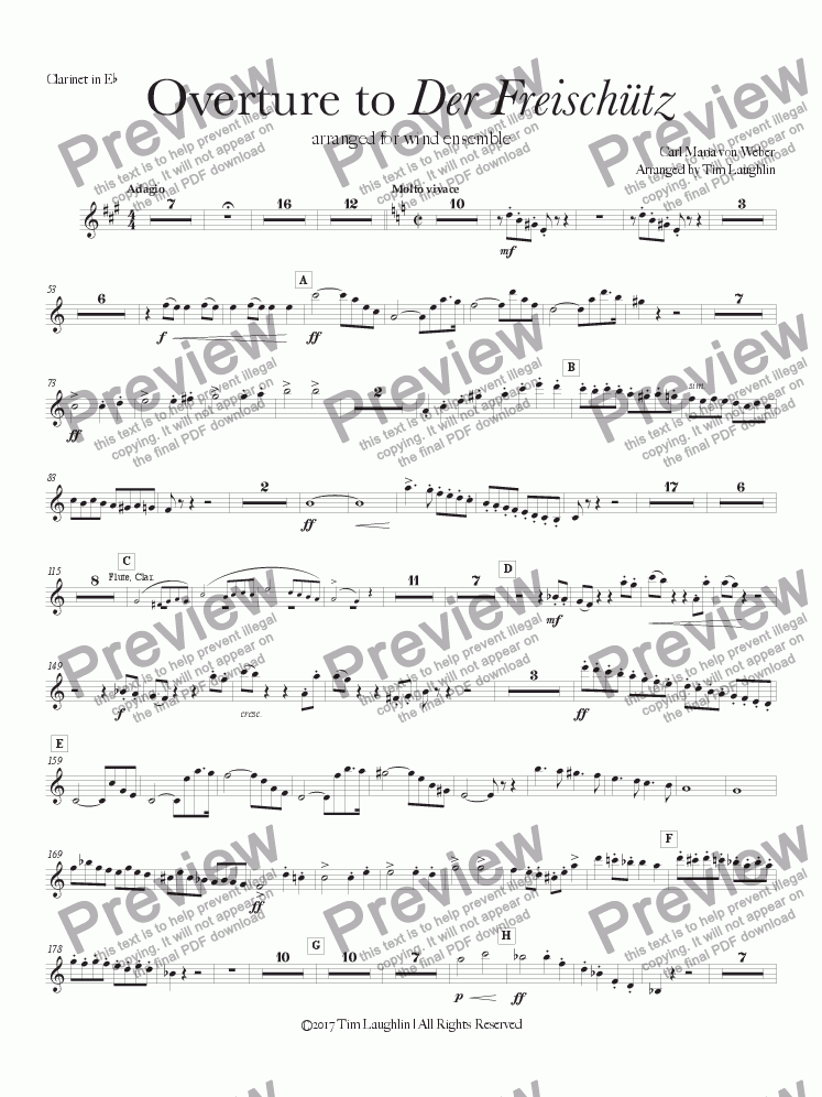 page one of the Eb Clarinet part from Overture to Der Freischutz (Band)