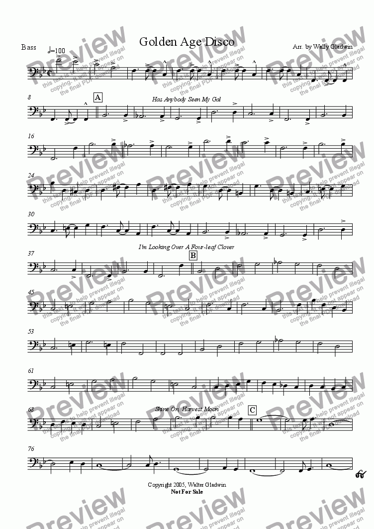 page one of the Bass Clarinet part from Golden Age Disco (Big Band)