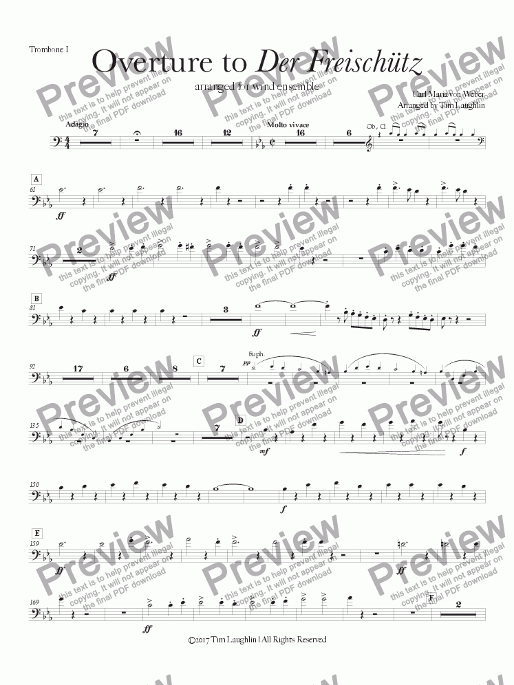 page one of the Trombone I part from Overture to Der Freischutz (Band)