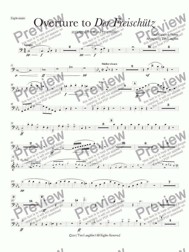 page one of the Euphonium part from Overture to Der Freischutz (Band)