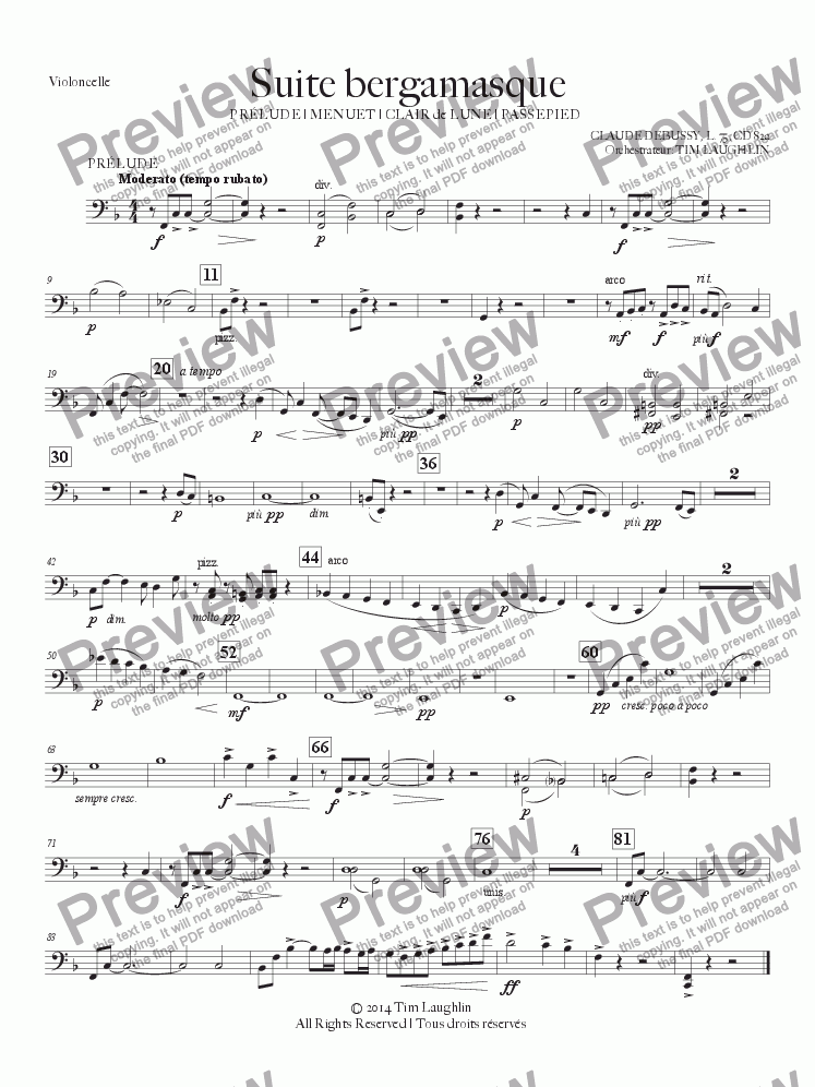 page one of the Violoncello part from Suite bergamasque