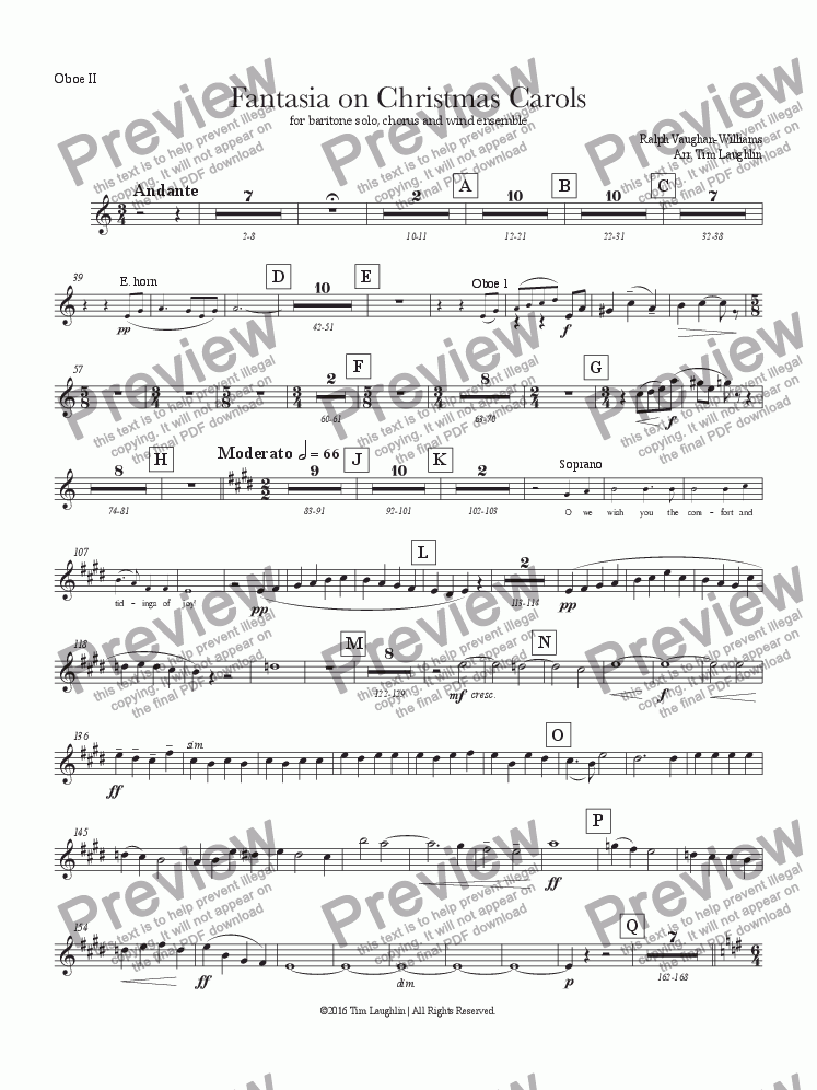 page one of the Oboe II part from Fantasia on Christmas Carols (Band & Chorus)