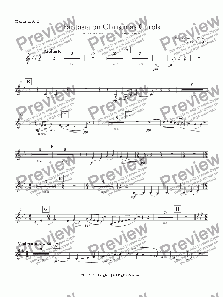 page one of the A Clarinet III part from Fantasia on Christmas Carols (Band & Chorus)