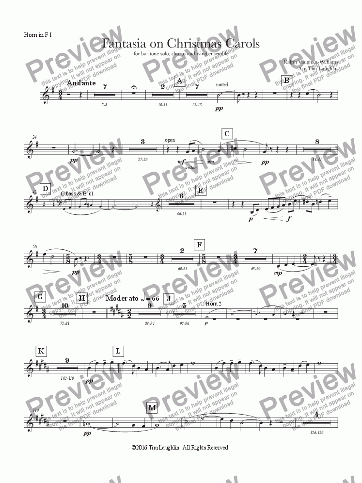 page one of the Horn I part from Fantasia on Christmas Carols (Band & Chorus)