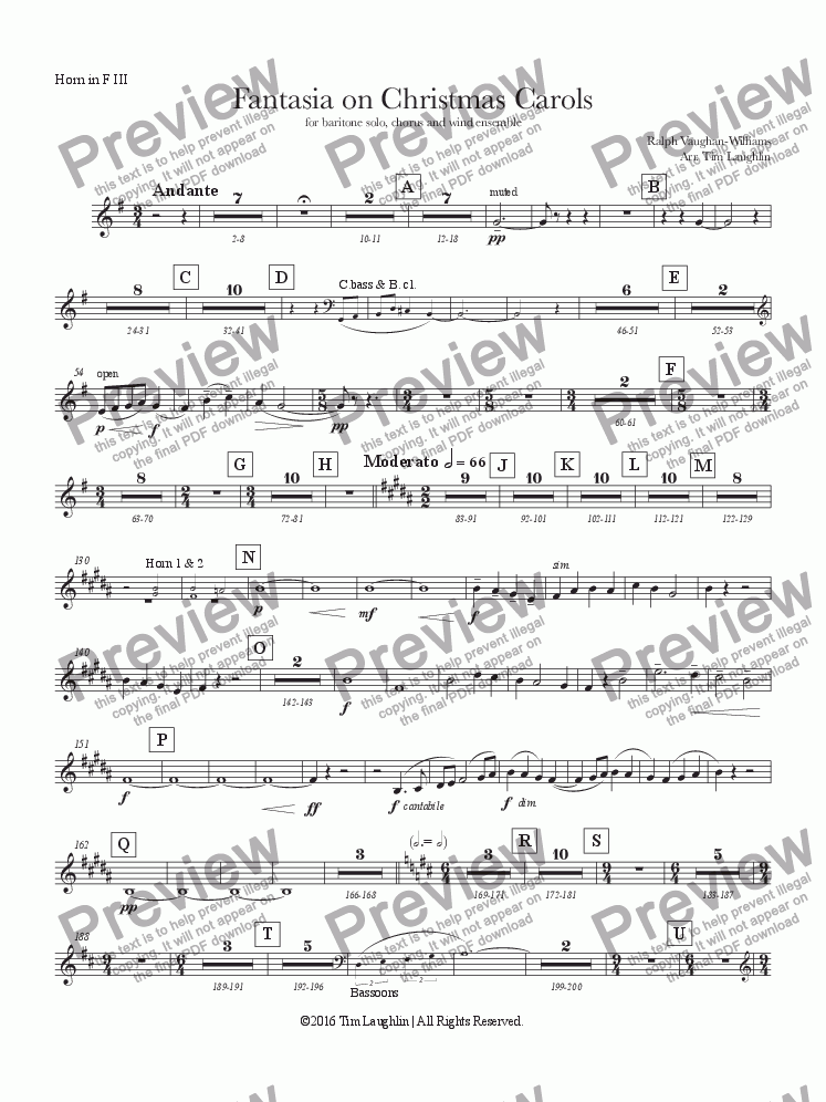page one of the Horn III part from Fantasia on Christmas Carols (Band & Chorus)