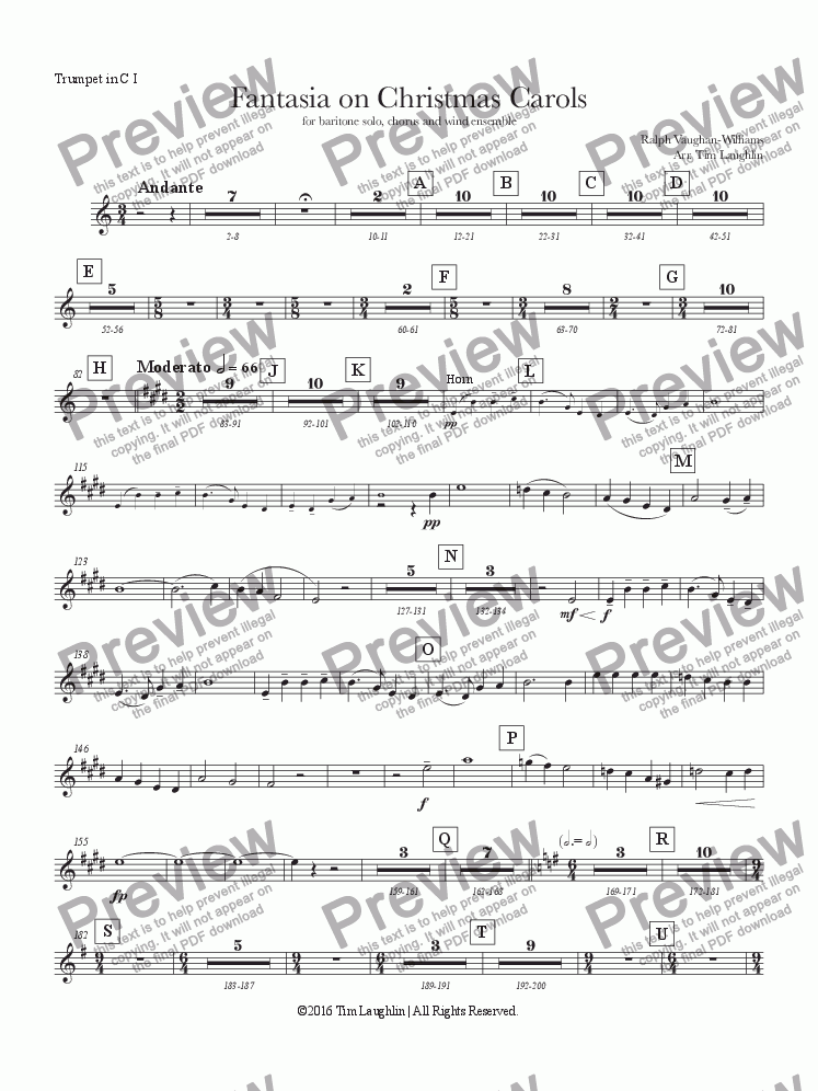 page one of the C Trumpet I part from Fantasia on Christmas Carols (Band & Chorus)