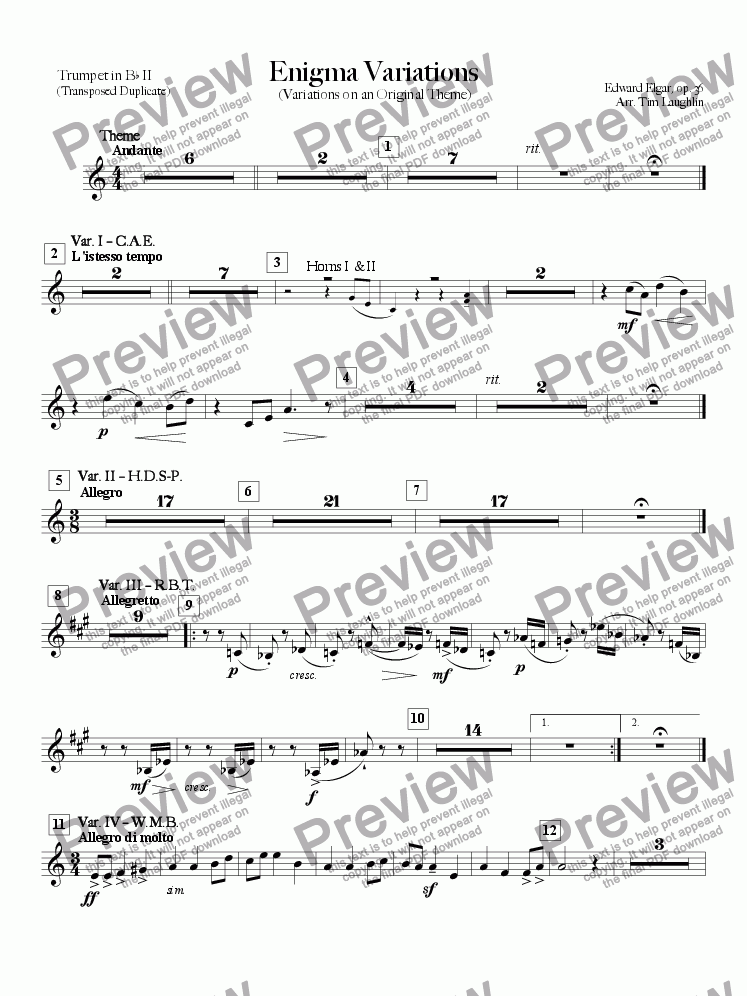 page one of the Bb Trumpet II (substitute) part from Enigma Variations (Band)