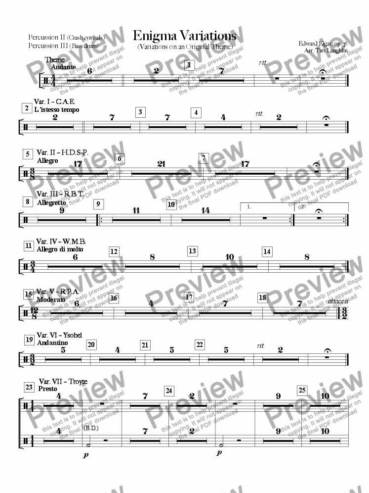 page one of the Percussion II & III part from Enigma Variations (Band)
