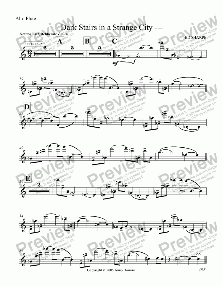 page one of the Alto Flute part from Dark Stairs in a Strange City ---