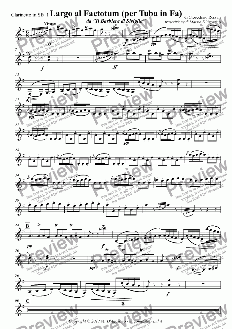 page one of the Clarinetto in SI^b^ 1 part from Largo al Factotum (per Tuba in Fa)