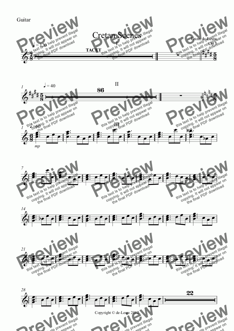 page one of the Guitar part from Cretan Scenes