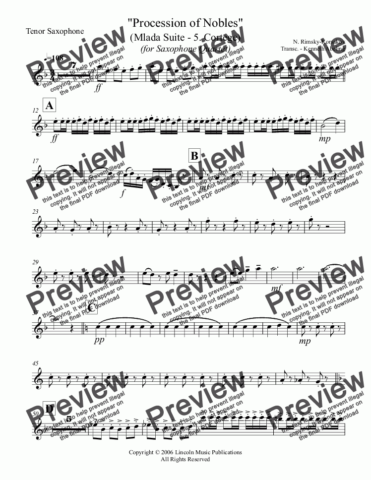 "page one of the Tenor Saxophone part from Rimsky-Korsakov – ""Procession of Nobles"" from Mlada (for Saxophone Quartet SATB)"