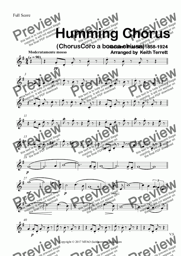 page one of the 1st B^b Clarinet part from Humming Chorus (ChorusCoro a bocca chiusa) for Concert Band
