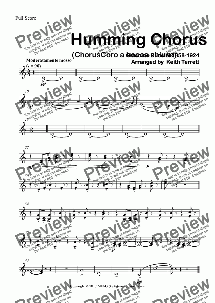 page one of the 1st & 2nd Horns in F part from Humming Chorus (ChorusCoro a bocca chiusa) for Concert Band