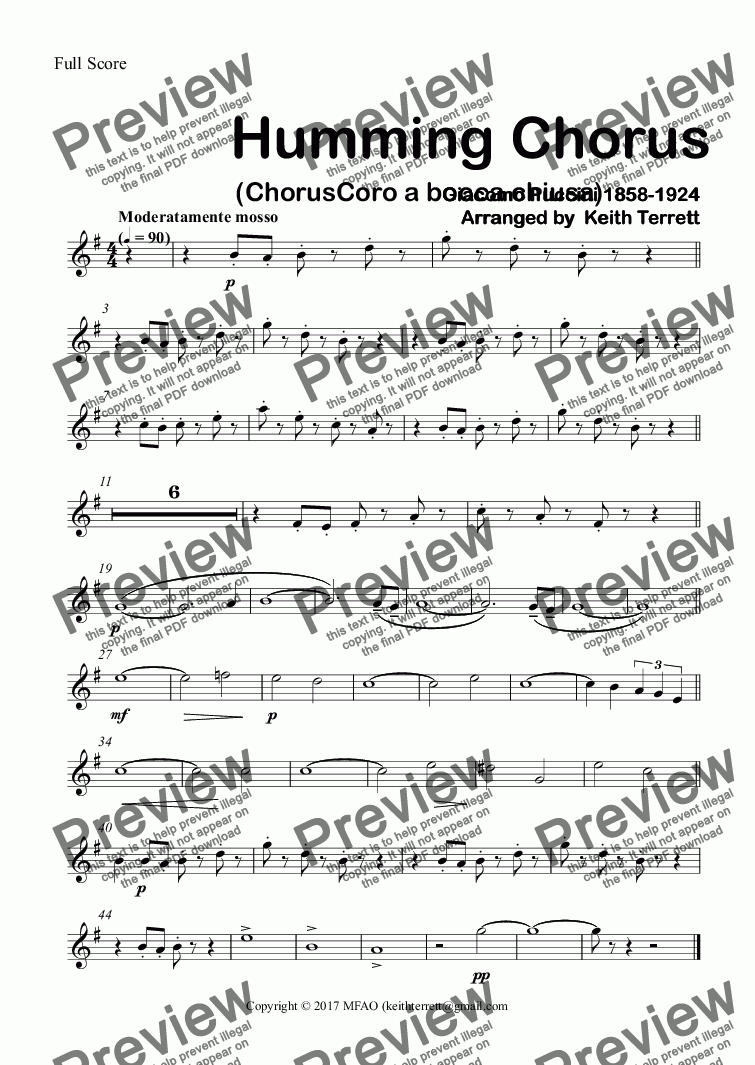 page one of the Tenor Saxophone part from Humming Chorus (ChorusCoro a bocca chiusa) for Concert Band