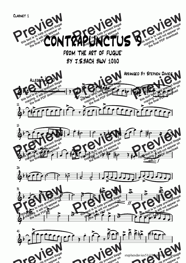 page one of the Clarinet 1 part from Contrapunctus 9 from 'The Art of Fugue' bwv1080 By J.S.Bach (Clarinet Quartet)
