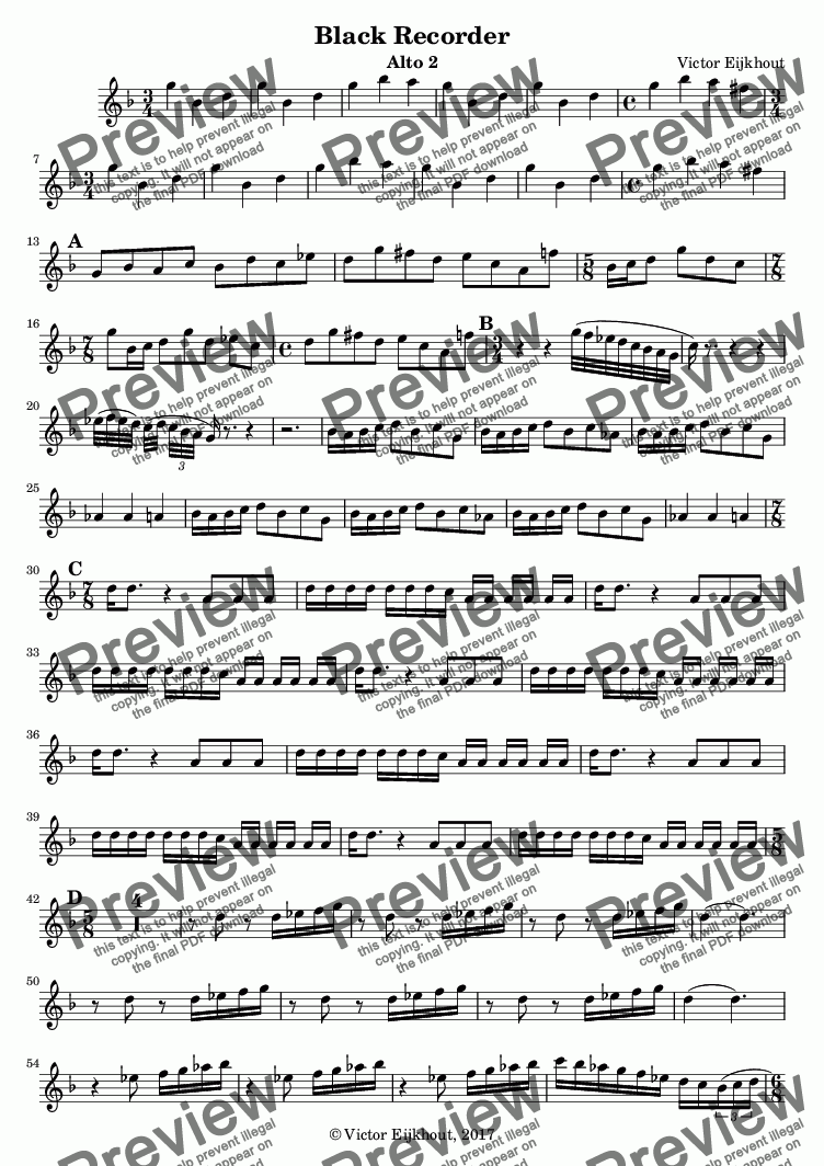 page one of the alto 2 part from Black Recorder