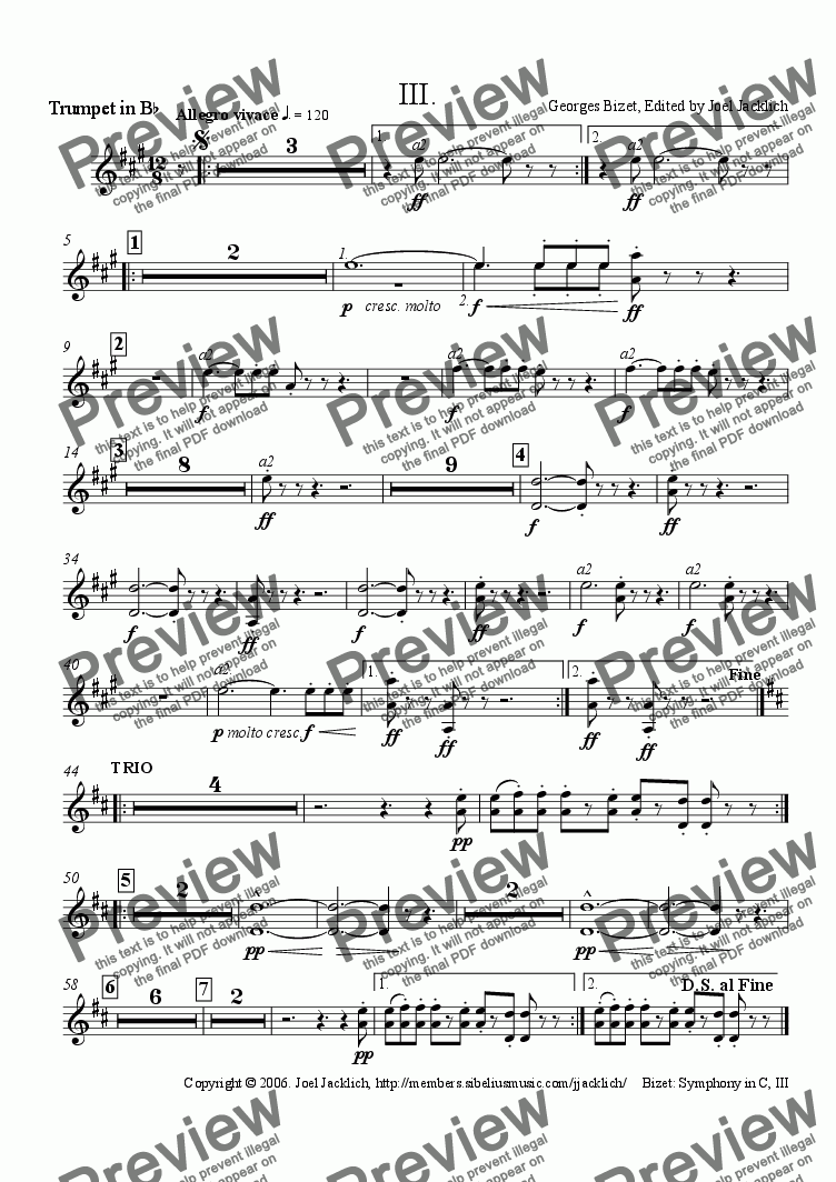 page one of the (Transposed Trumpets in B-Flat) part from Symphony in C, III