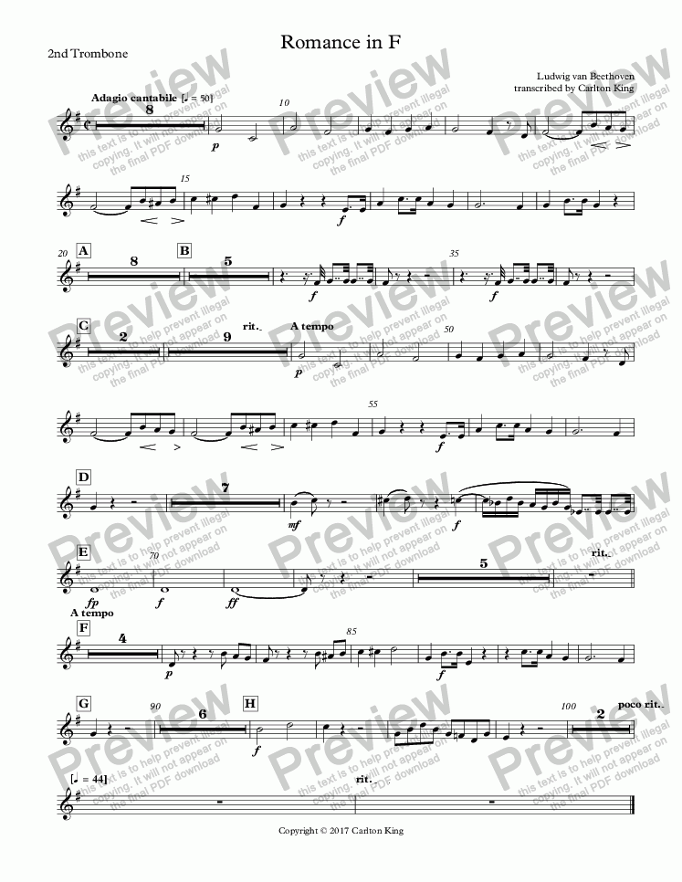 page one of the 2nd Trombone part from Romance in F (flugel solo)