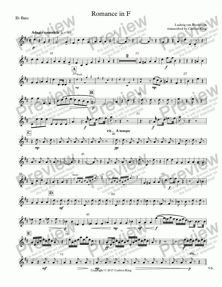 page one of the E^b Bass part from Romance in F (flugel solo)