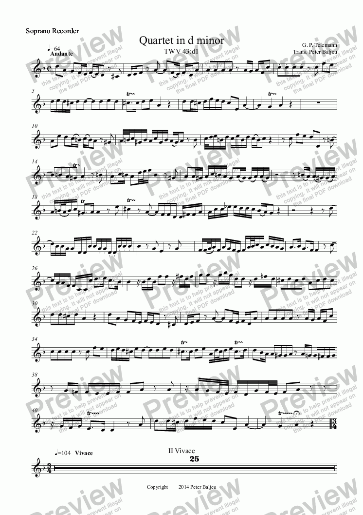 page one of the Soprano Recorder part from GP Telemann Quartet in d minor for SATB Recorders