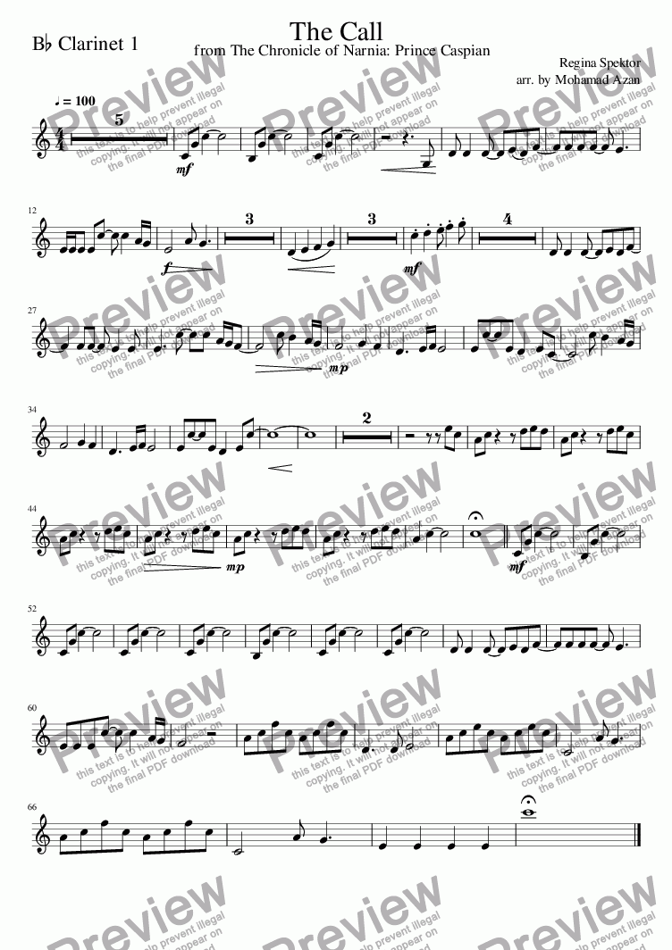 page one of the The_Call-clarinet_1 part from The_Call