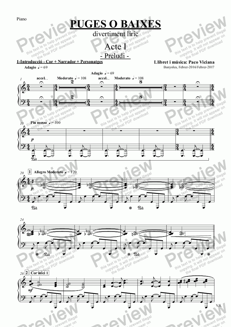 page one of the Piano part from Acte I