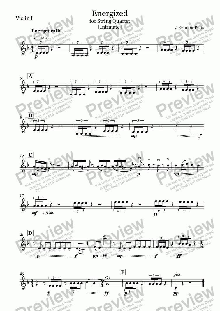 page one of the Violin I part from Energized