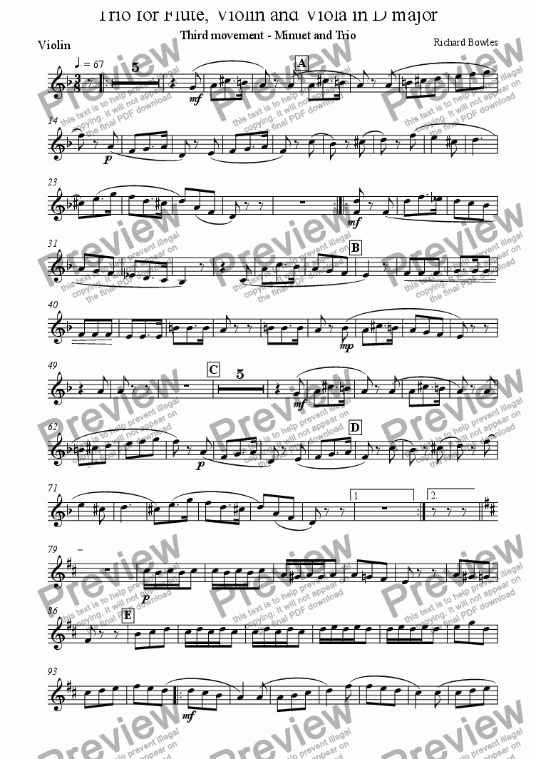 page one of the Violin part from Trio for Flute, Violin and Viola - Movement 3