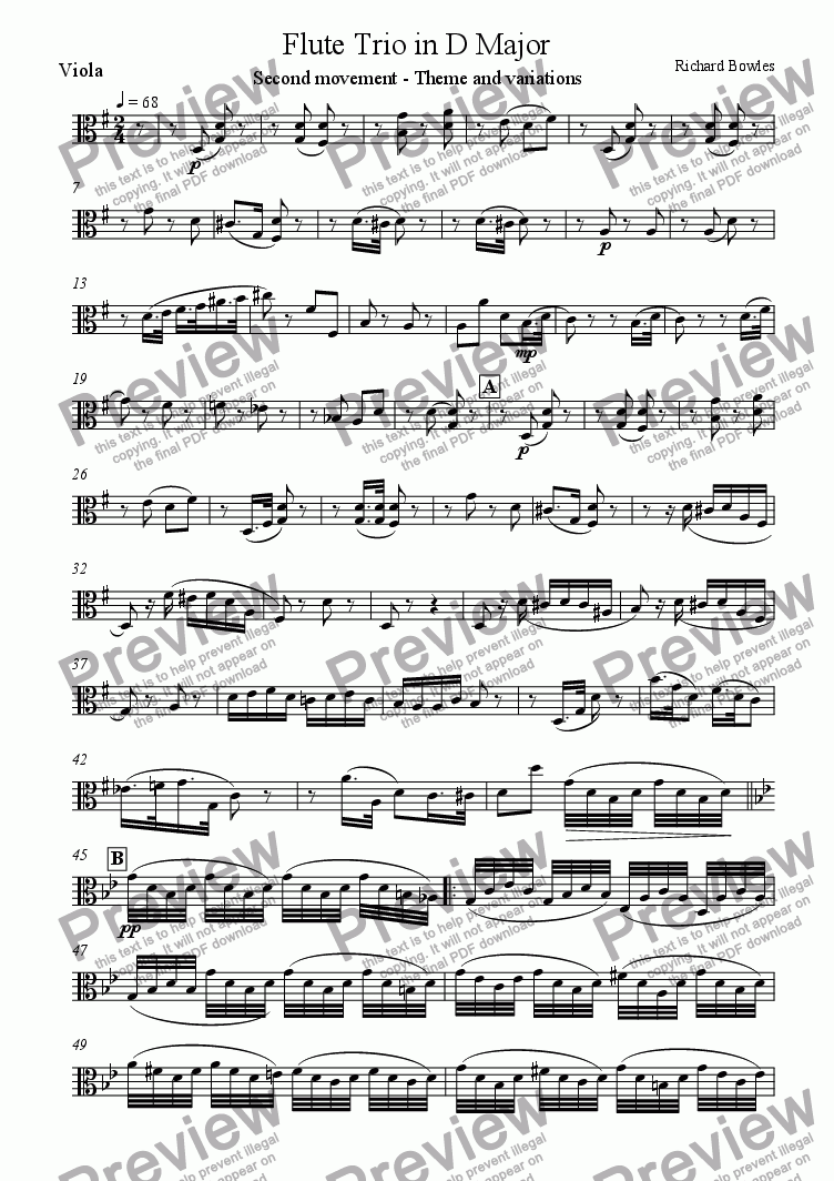page one of the Viola part from Trio for Flute, Violin and Viola - Movement 2