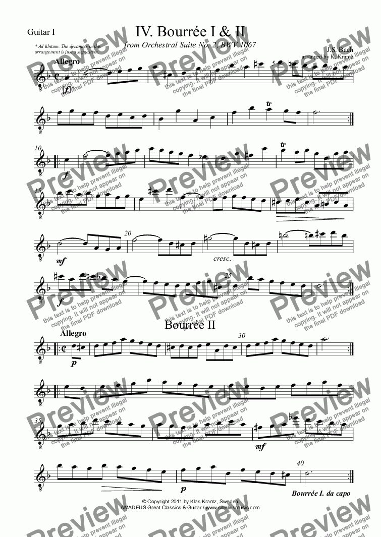 page one of the Guitar I part from Bourrée I & II (iv) BWV 1067 for guitar quartet