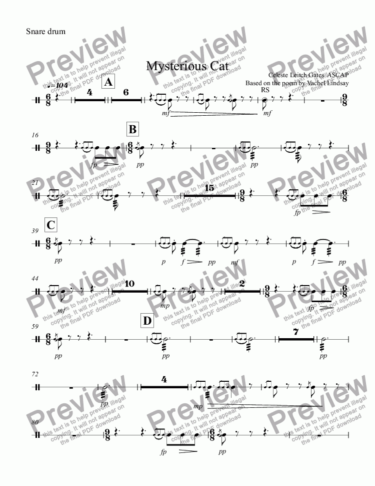 page one of the Snare drum part from Mysterious Cat (orchestral version) for Children's Choir