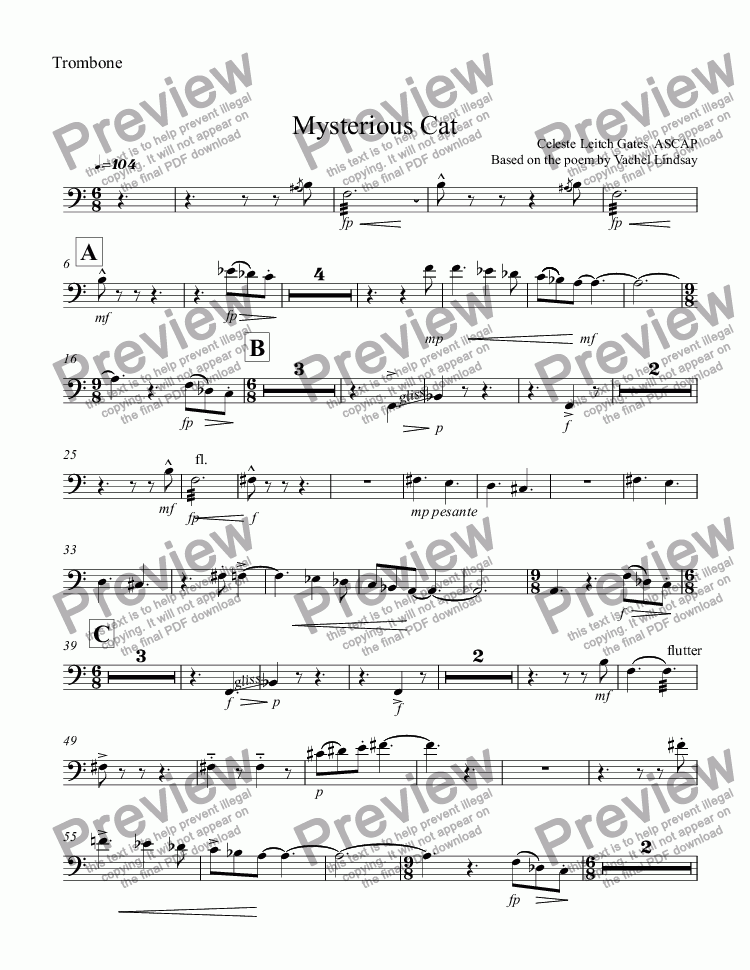 page one of the Trombone part from Mysterious Cat (orchestral version) for Children's Choir