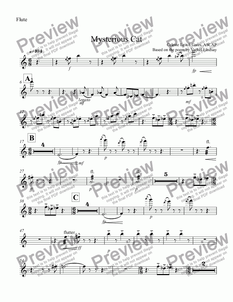 page one of the Flute part from Mysterious Cat (orchestral version) for Children's Choir