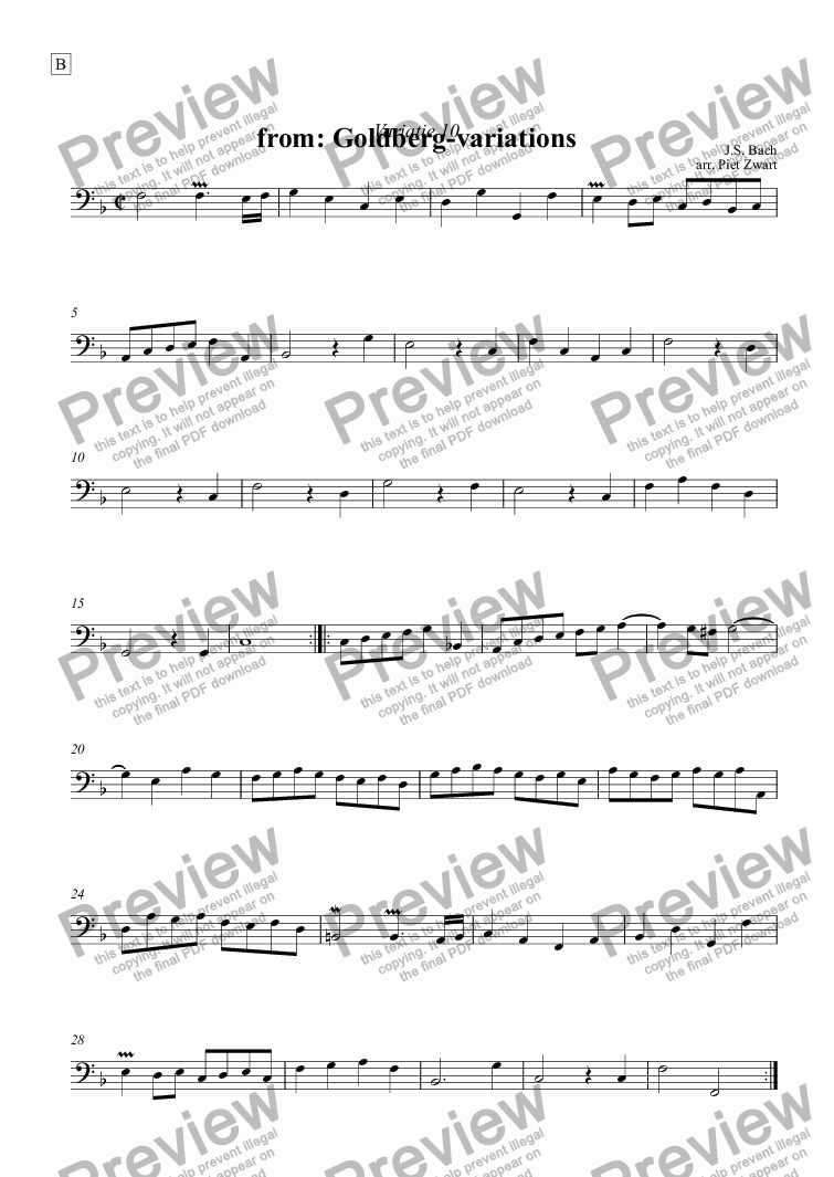 page one of the B part from Goldberg variation 10 (Bach)